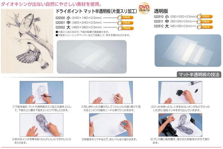 ドライポイント(凹板) マット半透明板|透明板