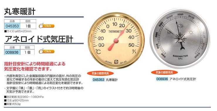 丸寒暖計のみ 65φmm セットのみ使用|アネロイド式気圧計