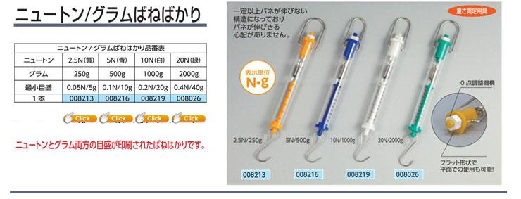 ニュートン/グラムばねはかり 2.5N(黄)/250g 1本|5N(青)/500g |10N(白)/1000g| 20N(緑)/2000g