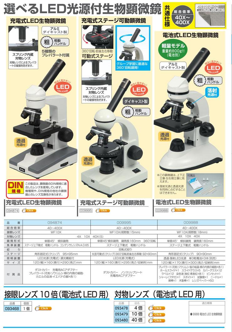 充電式LED生物顕微鏡|充電式ステージ可動顕微鏡|電池式LED生物顕微鏡|接眼レンズ10倍(電池式LED用)|対物レンズ4倍(電池式LED用)