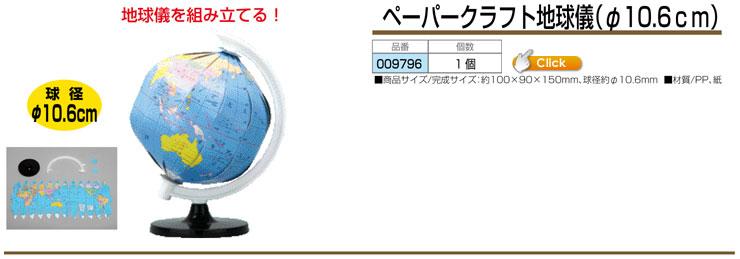 ペーパークラフト地球儀 φ10.6cm