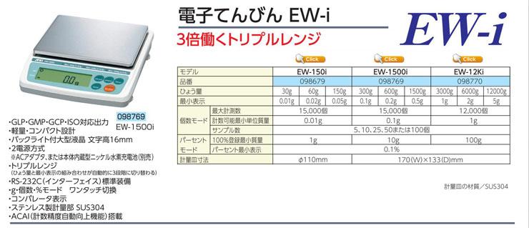 電子てんびん EW-150i|EW-1500i|EW-12Ki