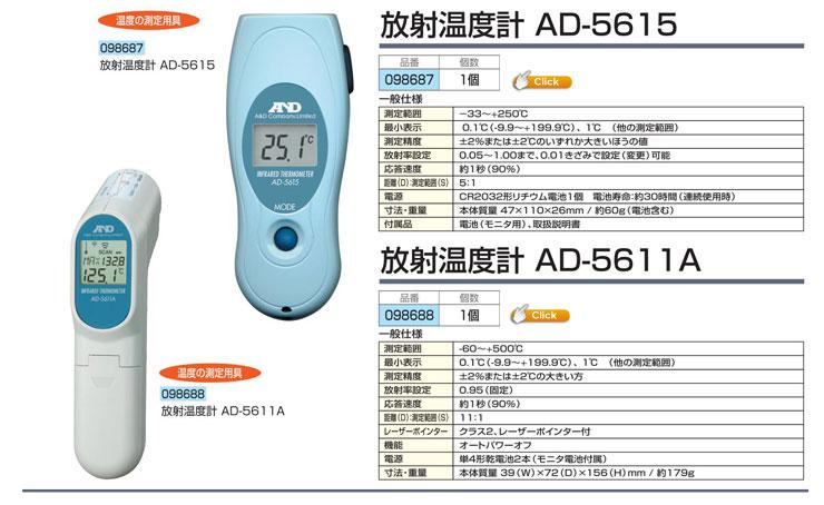 赤外線放射温度計 AD-5615|放射温度計 AD-5611A